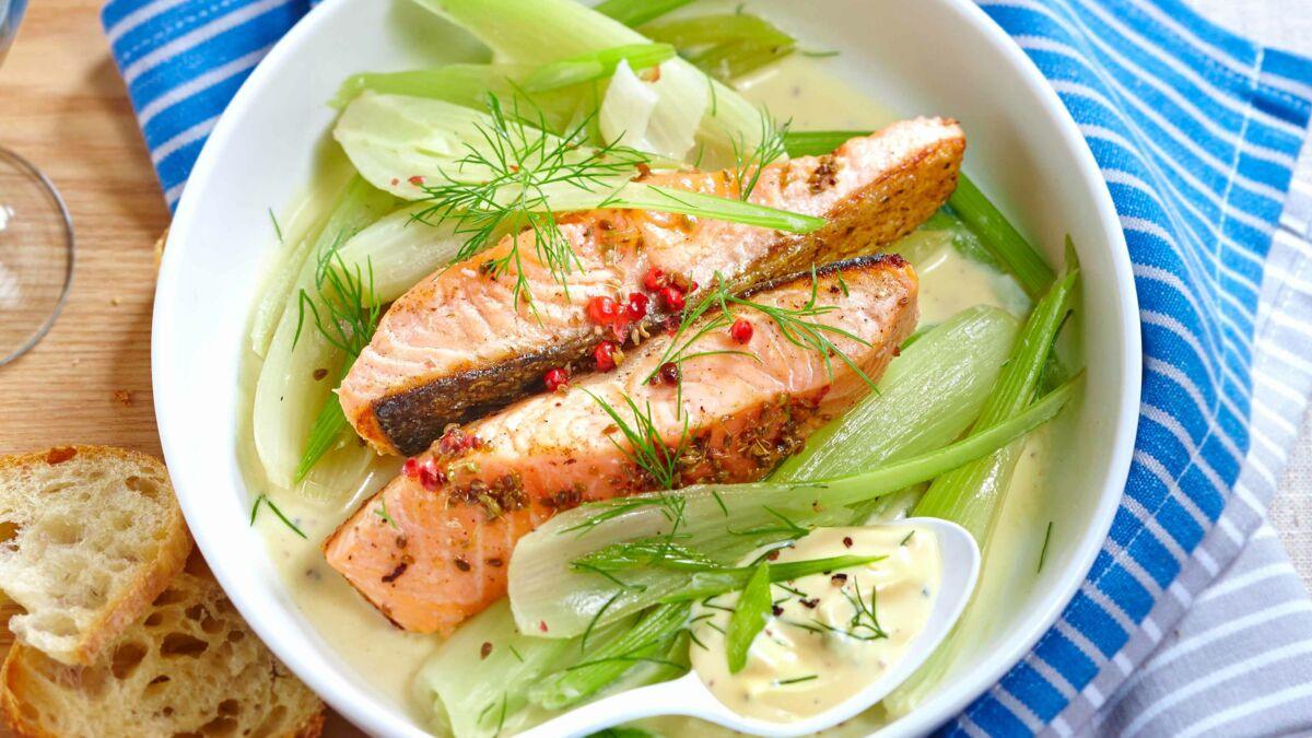 Pavés de saumon au fenouil, beurre blanc anisé