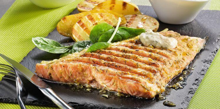 Saumon et sa sauce crémeuse à l'aneth à l'Optigrill de Téfal