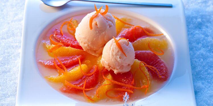 Agrumes en gelée citronnée, sorbet pamplemousse