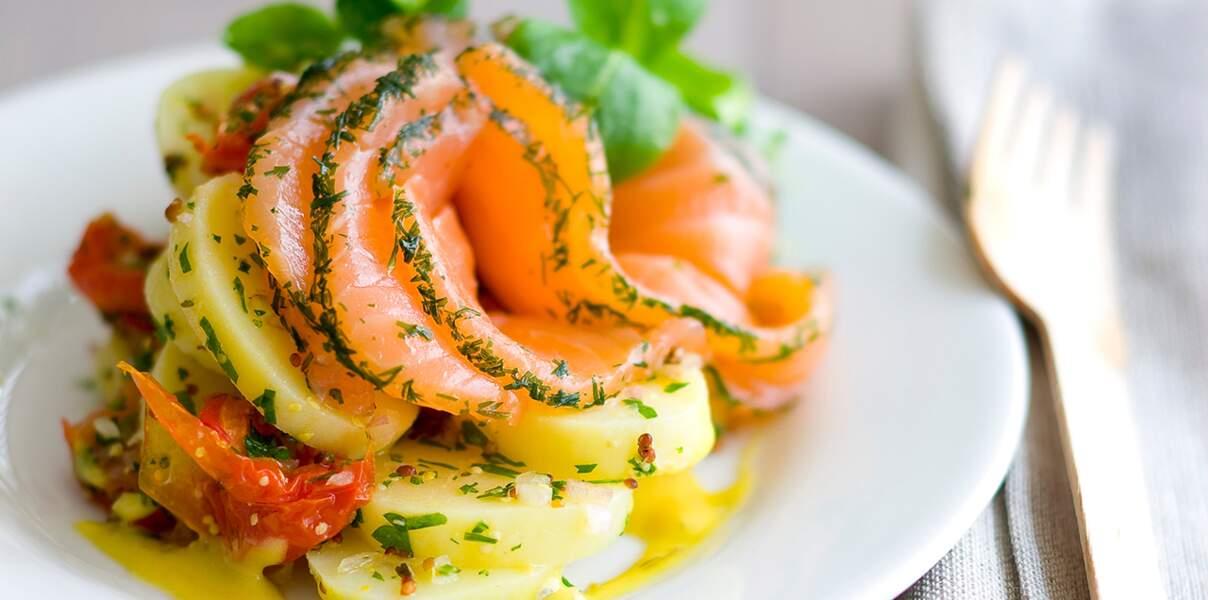 Salade de pommes de terre, saumon gravlax