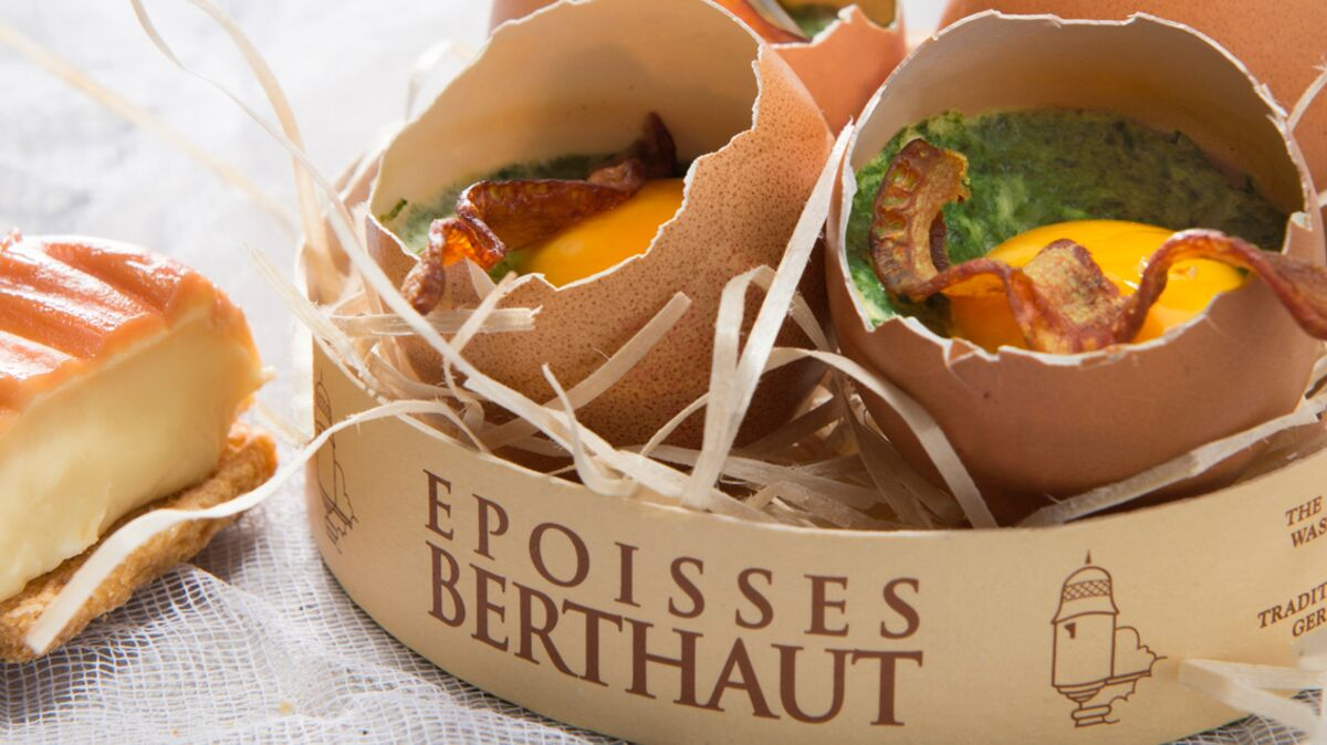 Oeufs cocotte à l'Epoisses Berthaut et tuile de bacon