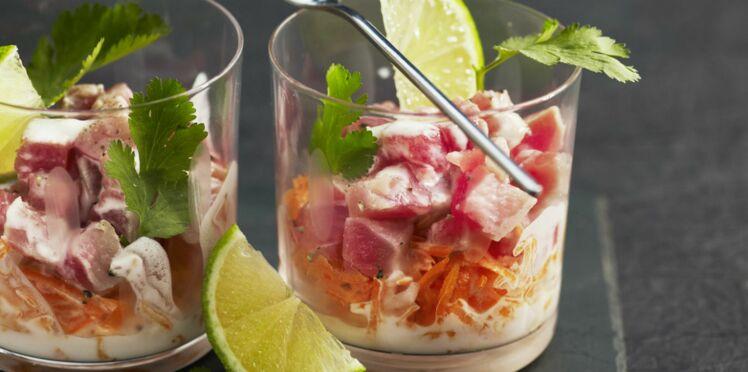 Salade de carottes râpées aux amandes et au thon