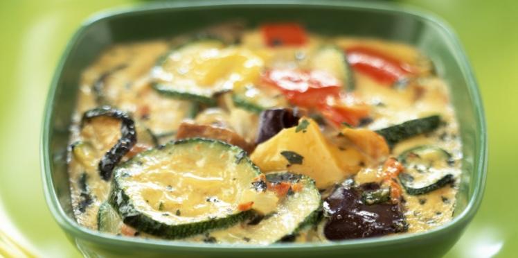 Flan de tomates, courgettes et thon
