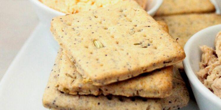Crackers au sarrasin, graines de fenouil et pavot