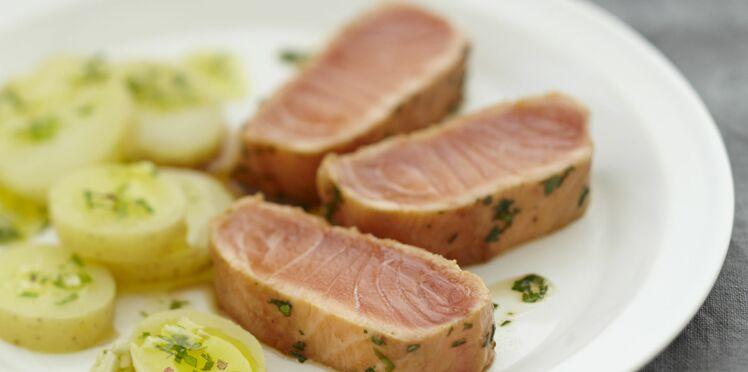 Mi cuit de saumon à la coriandre, pommes de terre à l'huile au gingembre