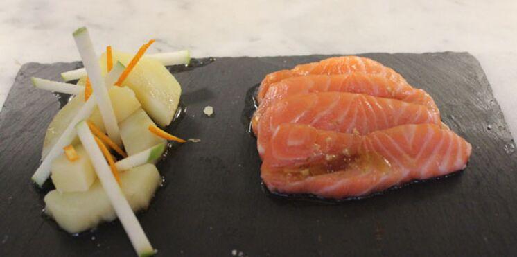 Gravelax de saumon, salade de pommes de terre et vinaigrette à l'orange