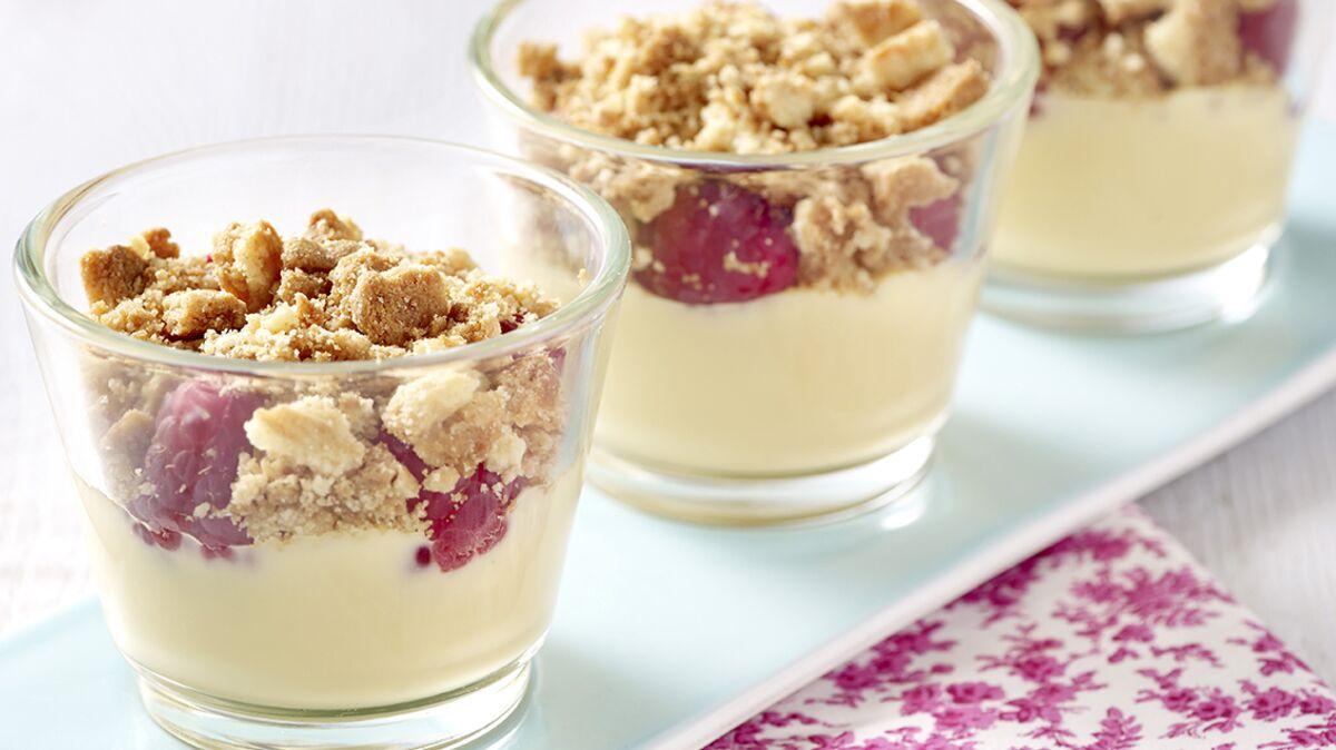 Crumble vanille framboises