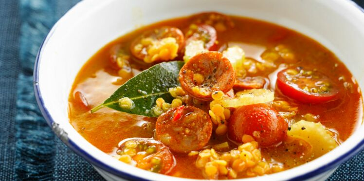 214c896ed855a Soupe de lentilles corail au chorizo   découvrez les recettes de ...