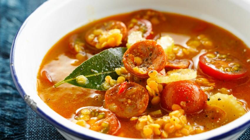 Soupe de lentilles corail au chorizo