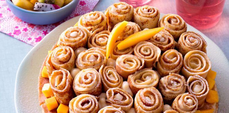 Gâteau exotique aux roulés de crêpes