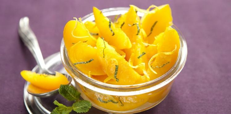 Salade de pêches citron-menthe light