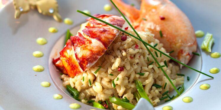 Homard et risotto au fumet de crustacés