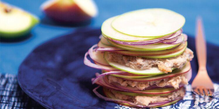 Recette rapide : feuilletés de pommes crues aux rillettes de hareng