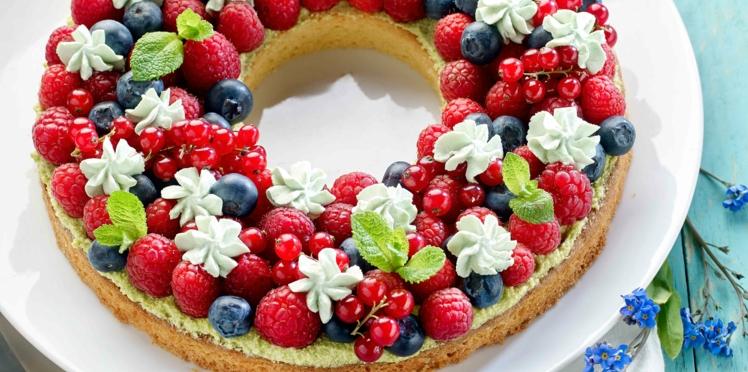Tarte couronne aux fruits rouges et crème à la pistache