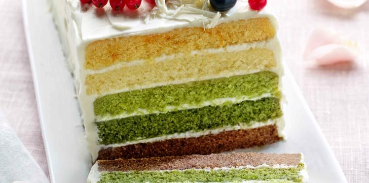 Layer cake thé vert-crème au yuzu