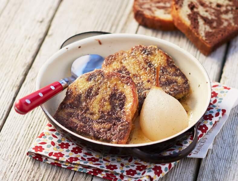 Marbré façon pain perdu et sa poire pochée à la vanille
