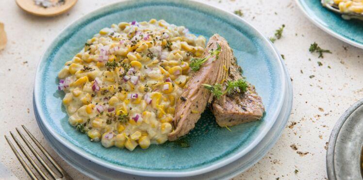 Filet de thon mariné thym & citron, maïs à la crème de pecorino