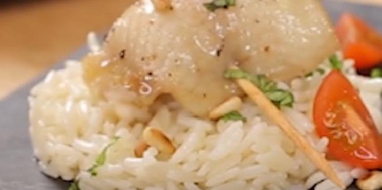Roll de sole et Saint-Jacques, riz de Camargue