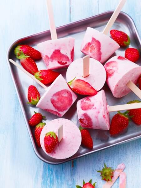 Popsicles aux fraises