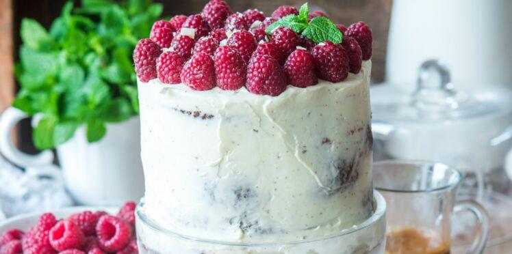 Layer cake aux framboises et deux chocolats