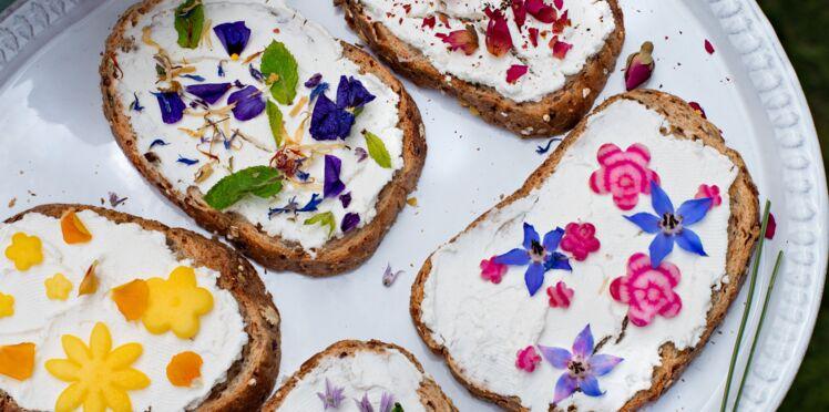 Tartines fleuries au fromage frais