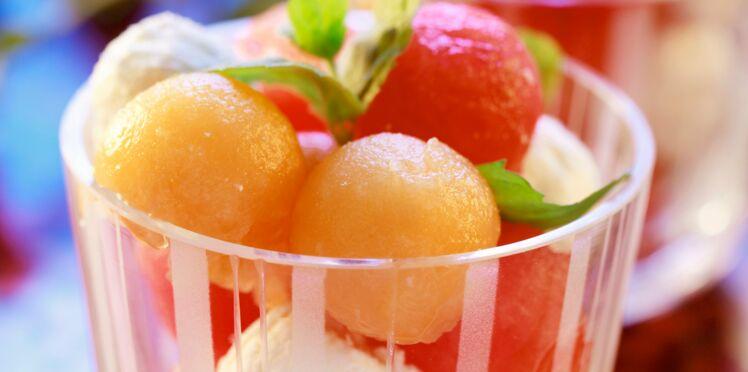 Salade de pastèque et melon à la mozzarella