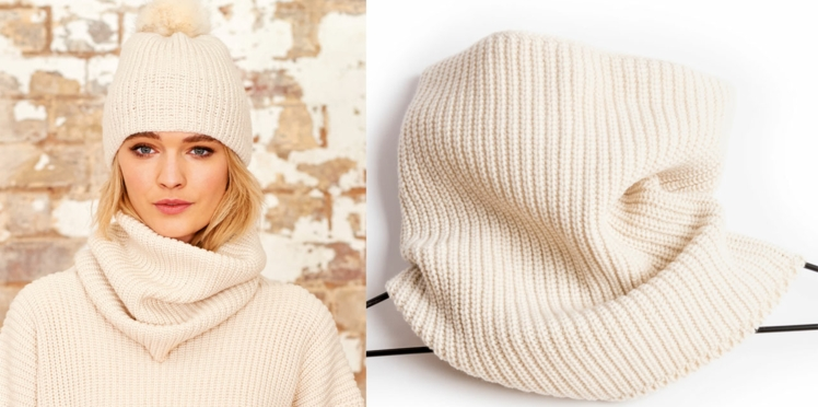Modèle gratuit au tricot : le snood ivoire en cotes perlées