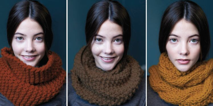 Modèle de tricot gratuit : un snood en 3 versions