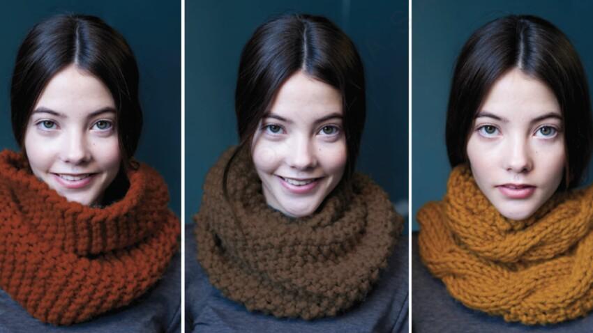 Modèle de tricot gratuit : un snood en 3 versions