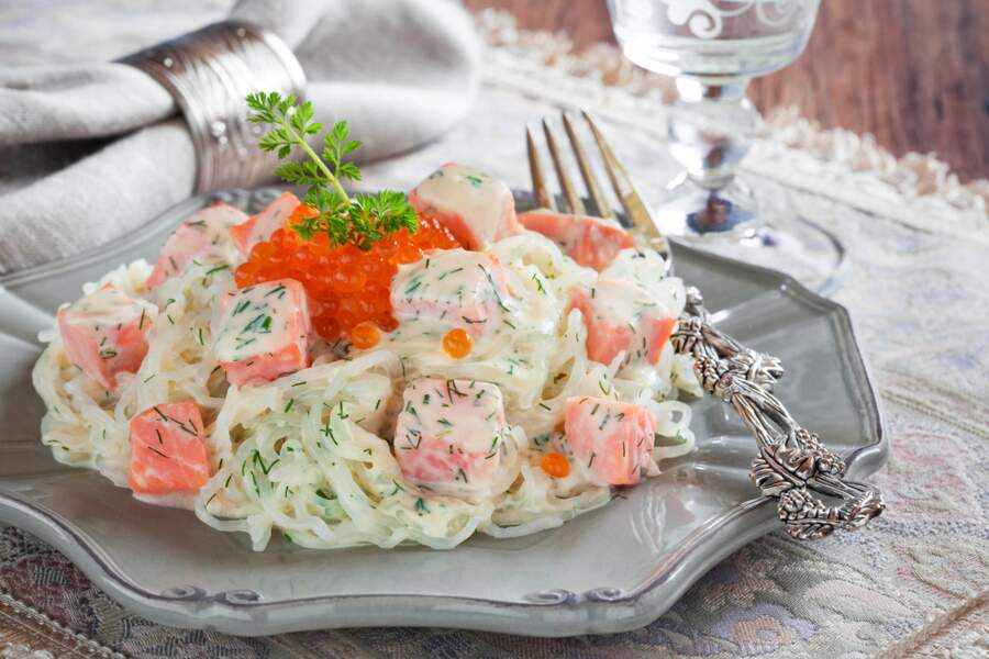 Shiratakis de konjac au tartare de saumon