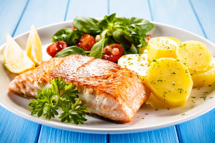 Saumon rôti aux petits légumes et shiratakis de konjac
