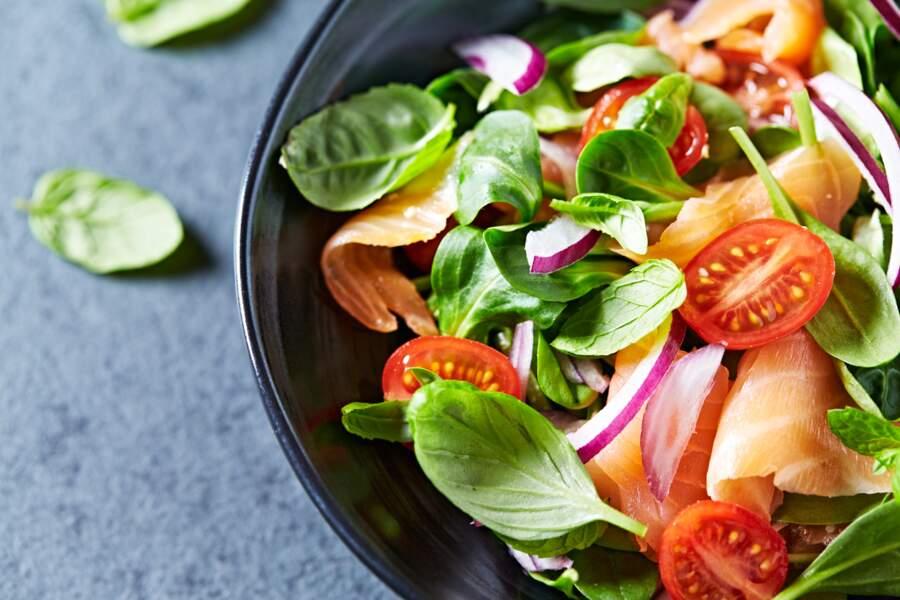 Salade au saumon fumé et konjac