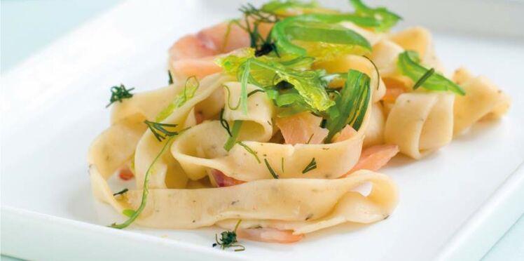 Tagliatelles de konjac au saumon et sa sauce légère