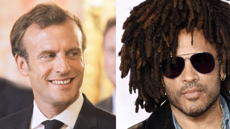 Photo - Emmanuel Macron s'éclate avec Lenny Kravitz au concert de U2