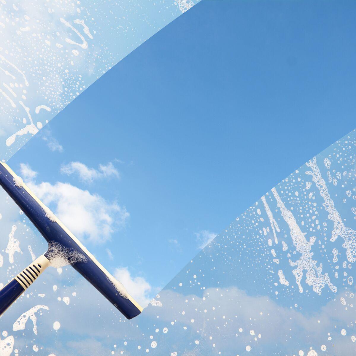 Nettoyer Interieur Lave Vaisselle comment nettoyer les vitres avec une raclette : femme