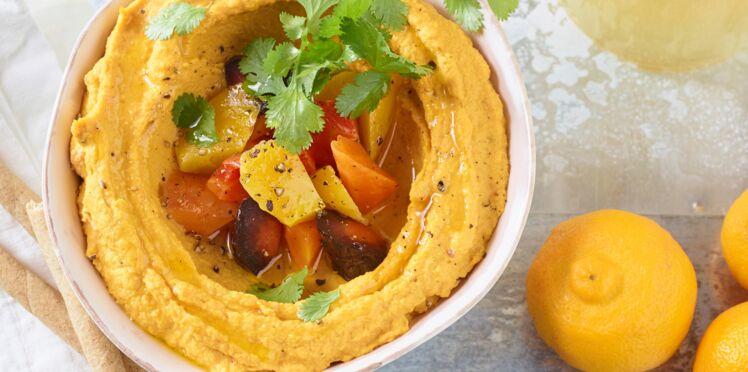 Houmous de carottes jaunes rôties au citron confit