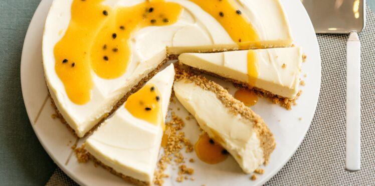 Cheesecake au chocolat blanc et coulis aux fruits de la passion