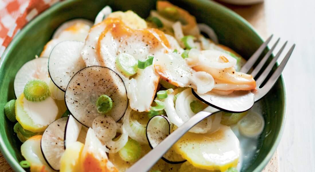 Salade tiède de pommes de terre au haddock