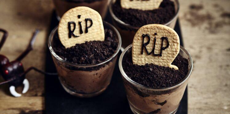 Verrines pierres tombales pour Halloween