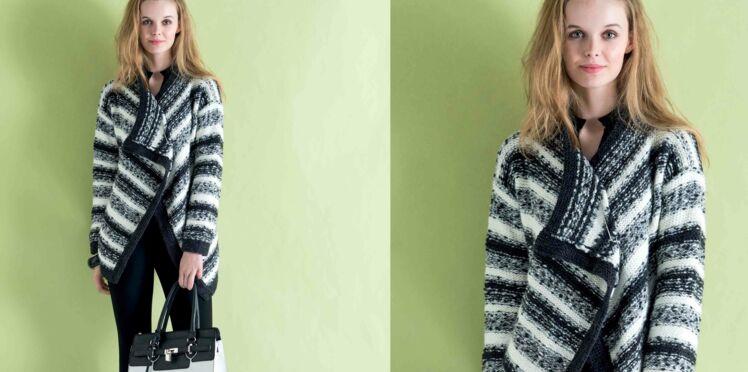 Tricot gratuit : une veste rayée