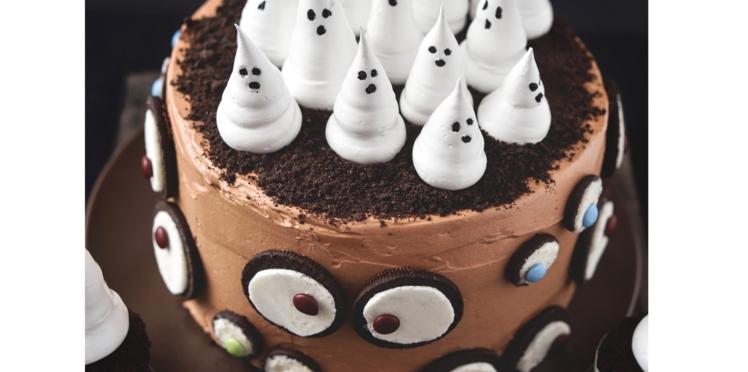 Gâteau d'Halloween, fantômes et yeux