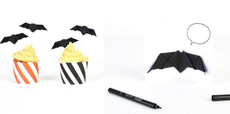 Bricolage d'Halloween : des chauves-souris en papier plié
