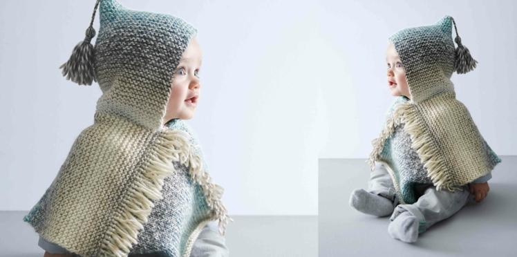 Tricot gratuit : un poncho pour bébé