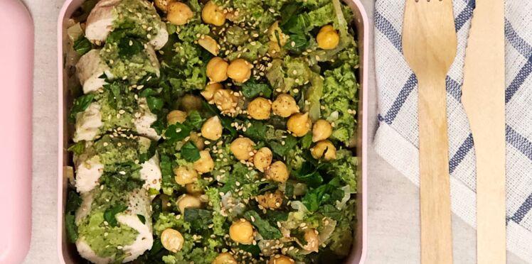 Pois-chiches au fenouil confit, ballotine de poulet au pesto de brocoli