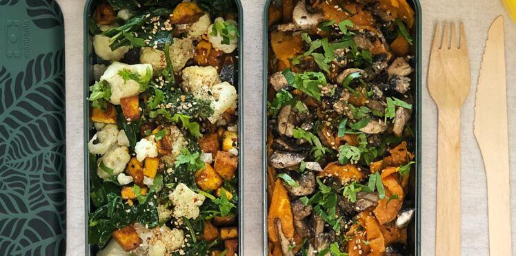 Bowl patate douce, champignons, tofu grillé, épinard et chou-fleur