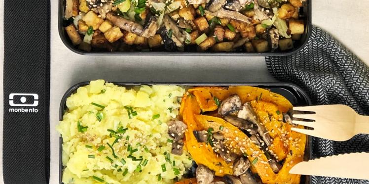 Ecrasé de pommes de terre, tempeh grillé, potiron, fenouil et champignons