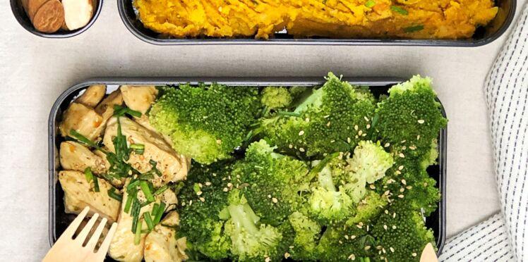 Purée de patate douce et chou-fleur, brocoli et poulet grillé