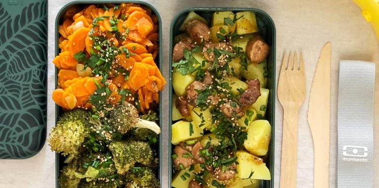 Pomme de terre et poulet grillé, poêlée de carotte, brocoli et champignons rôtis