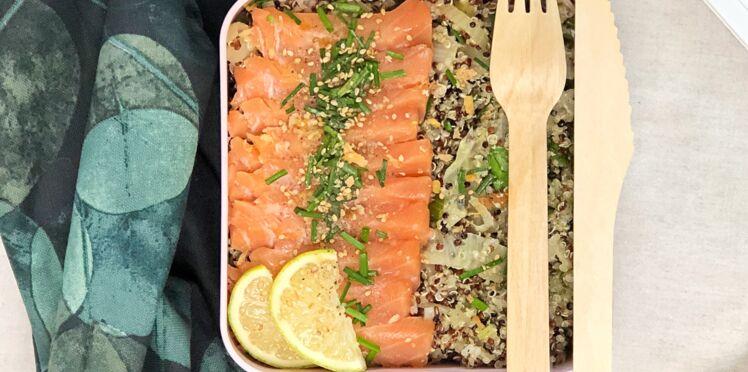 Bowl quinoa, sashimi de truite, fenouil confit et chou-chinois