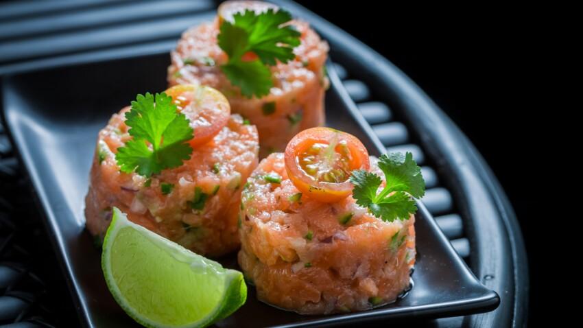 Tartare de saumon frais et fenouil mariné à l'orange